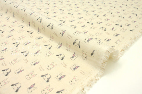 Japanese Fabric Kokka Sweet Animal Rabbits - cream - 50cm