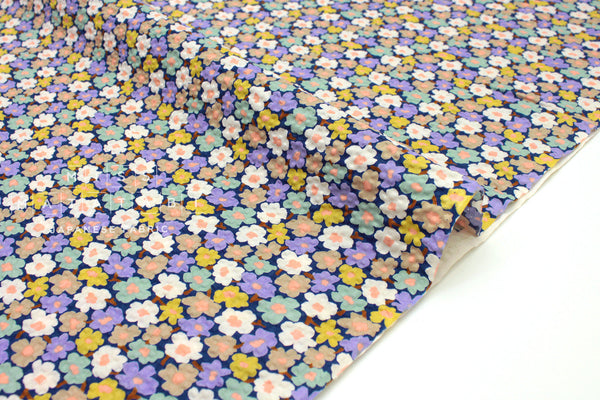 Japanese Fabric Cotton Seersucker Retro Flowers - 50cm
