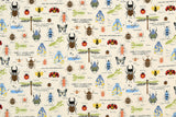 Japanese Fabric Cotton Seersucker Insect Encyclopedia - cream - 50cm