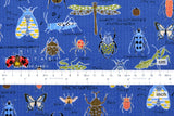 Japanese Fabric Cotton Seersucker Insect Encyclopedia - blue - 50cm