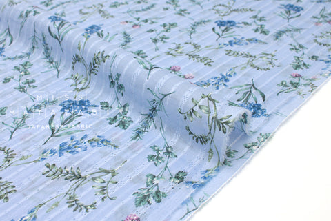 Japanese Fabric - dobby voile foliage - blue - 50cm
