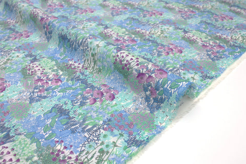 Japanese Fabric wonder forest lawn - blue, green, purple - 50cm