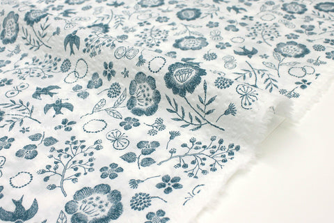 Japanese Fabric Cotton Seersucker Woodblock Floral - teal blue, white - 50cm