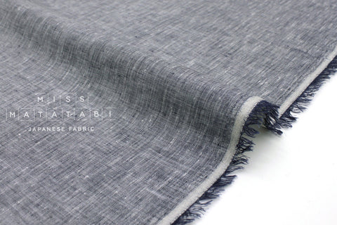Japanese Fabric 100% Chambray Linen - navy blue -  50cm