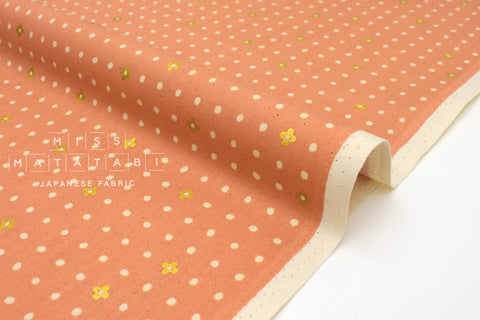 Japanese Fabric Cotton + Steel Neko and Tori - Ohanadotto - coral metallic - 50cm