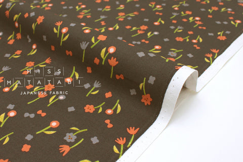 Japanese Fabric Cotton + Steel Neko and Tori - Flower Picking - charcoal - fat quarter