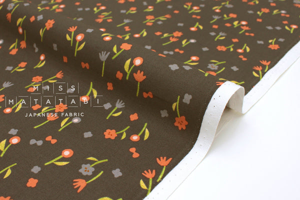 Japanese Fabric Cotton + Steel Neko and Tori - Flower Picking - charcoal - 50cm