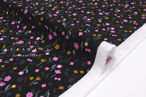 Cotton + Steel Once Neko and Tori Rayon - flower picking - night - 50cm