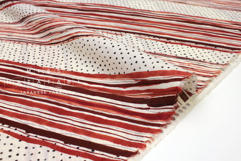 Japanese Fabric Kokka Stripes Voile - rust red - 50cm