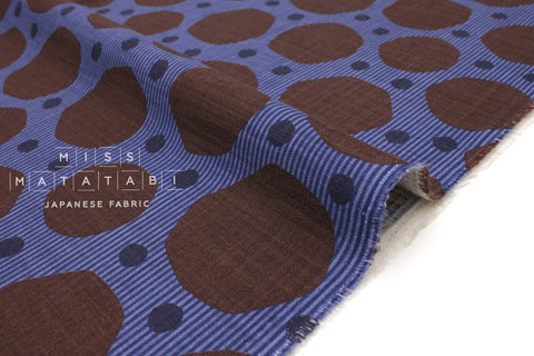 Japanese Fabric Kokka Trefle Simple Blue - blue, chocolate - 50cm