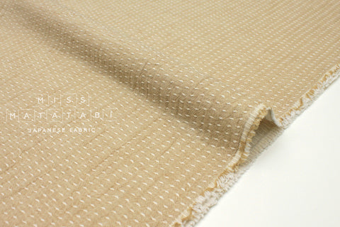 Japanese Fabric Kokka Sashiko Yarn Dyed Double Gauze - beige - 50cm