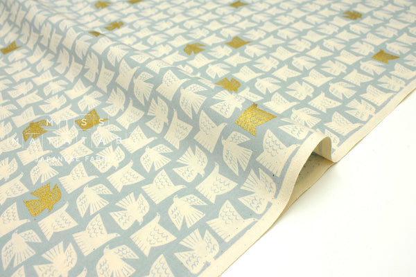 Japanese Fabric Cotton + Steel Kibori - Paper Birds - sky metallic - 50cm