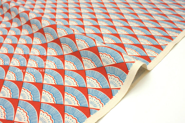 Japanese Fabric Cotton + Steel Kibori - Ougi - red - 50cm