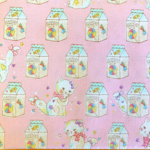 Japanese Fabric Kokka Fancy Pop Kittens - pink - 50cm