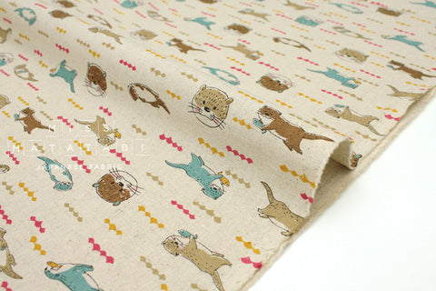 Japanese Fabric Kokka Otters - natural - fat quarter