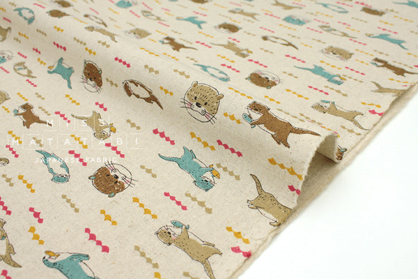 Japanese Fabric Kokka Otters - natural - 50cm