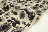 Japanese Fabric Kokka Bright Flowers - black, natural - fat quarter