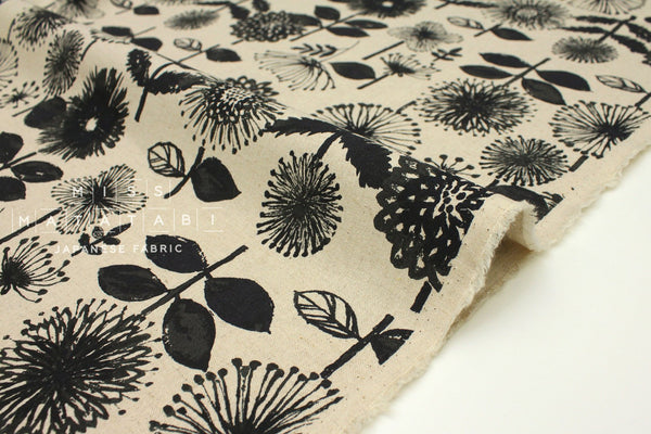 Japanese Fabric Kokka Bright Flowers - black, natural - 50cm