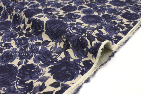 Japanese Fabric Kokka Roses - blue, natural - fat quarter