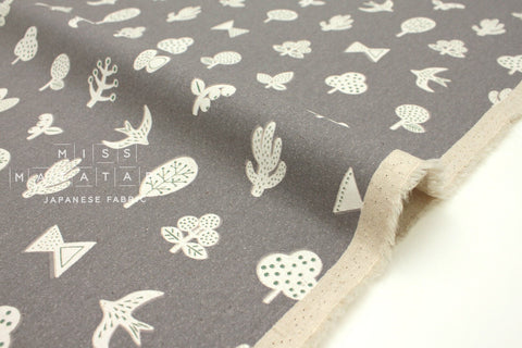 Japanese Fabric Kokka Trefle Brooches - grey - fat quarter