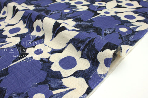Japanese Fabric Kokka Trefle Simple Blue Flowers - blue - 50cm