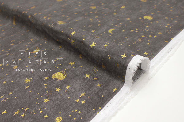 Japanese Fabric Kokka Night Sky - grey, metallic gold - 50cm