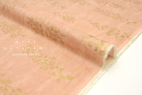 Japanese Fabric Kokka Fish School - pink, metallic gold - 50cm