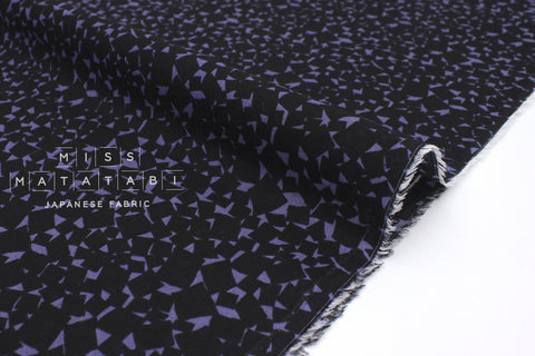 Japanese Fabric Dobby Chiffon - black, blue - 50cm