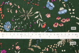 Japanese Fabric Curbside Flowers Brushed Twill - forest green - 50cm