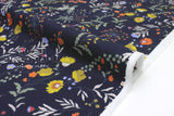 Japanese Fabric Curbside Flowers Brushed Twill - navy blue - 50cm