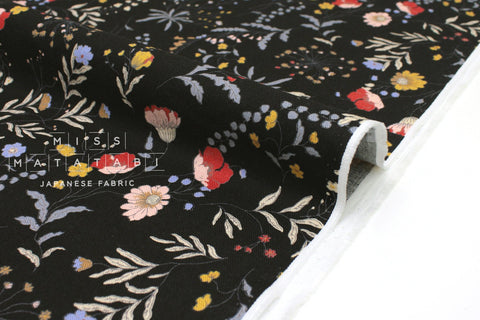 Japanese Fabric Curbside Flowers Brushed Twill - black - 50cm