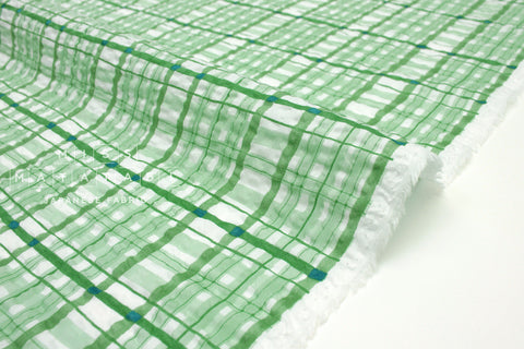 Japanese Fabric Plaid Enshuku lawn - green - 50cm