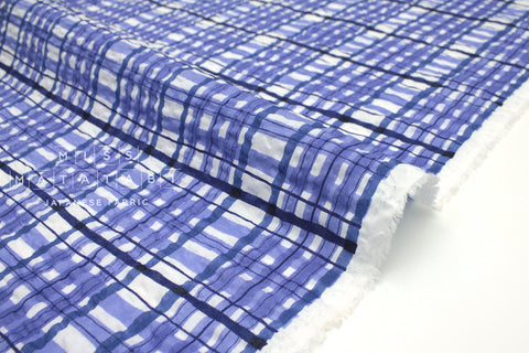 Japanese Fabric Plaid Enshuku lawn - blue - 50cm