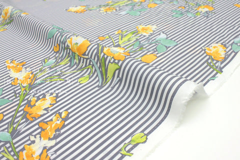 Japanese Fabric Floral Stripe Lawn - grey, orange - 50cm