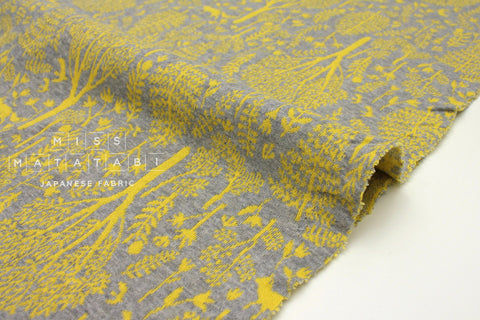 Japanese Fabric reversible double knit - Forest Friends - yellow, grey - 50cm