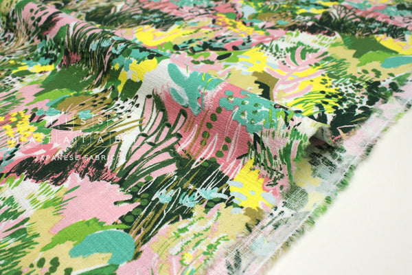 Japanese Fabric Summer Barkcloth - green, pink - 50cm