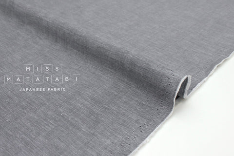 Japanese Fabric Yarn Dyed Chambray Lawn - grey - 50cm
