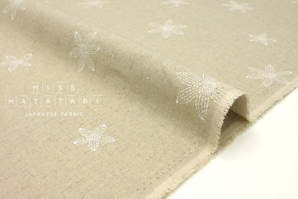 Japanese Fabric Stitch Flowers - natural, white - fat quarter
