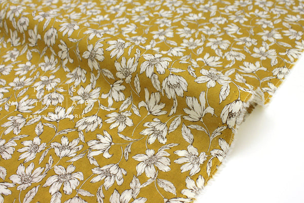 Japanese Fabric Windy Floral Cotton Lawn - mustard - 50cm