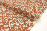 Japanese Fabric Windy Floral Cotton Lawn - burnt orange - 50cm