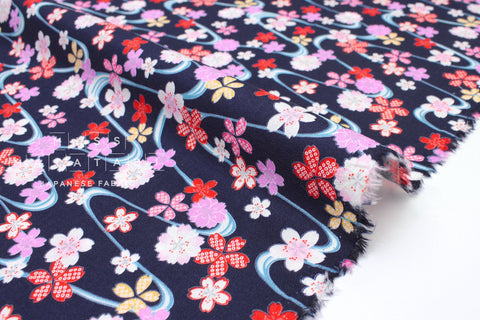 Japanese fabric Floating Sakura - navy blue - 50cm