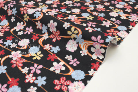 Japanese fabric Floating Sakura - black - 50cm