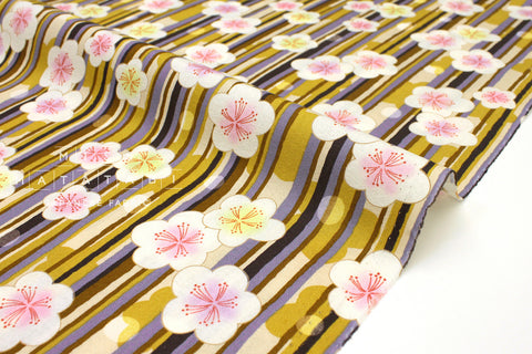 Japanese fabric Ume Rain - mustard, grey - 50cm