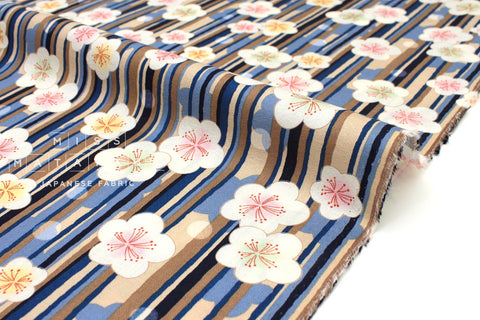 Japanese fabric Ume Rain - blue, taupe - 50cm