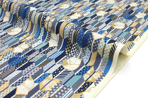 Japanese Fabric Fox and Arrow - blue, metallic gold - 50cm