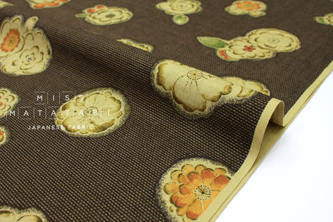 Japanese Fabric Tsujigahana Kasuri Dobby - chocolate, orange - 50cm
