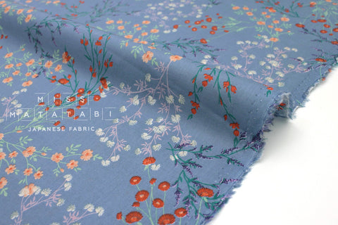 Japanese Fabric Delicate Floral cotton lawn - grey blue - 50cm