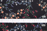 Japanese Fabric Delicate Floral cotton lawn - black - 50cm