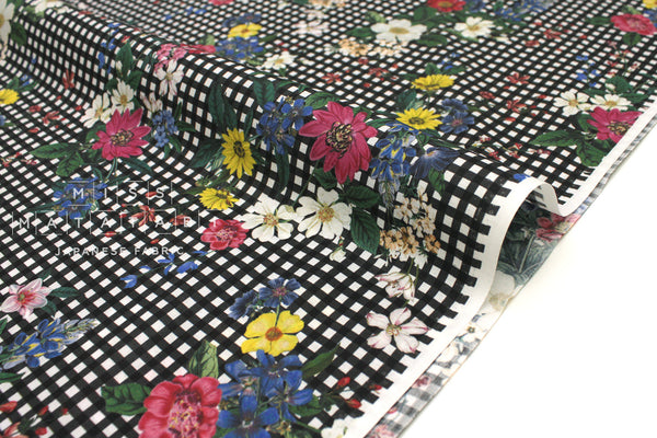 Japanese Fabric Gingham Flowers - black, multi - 50cm