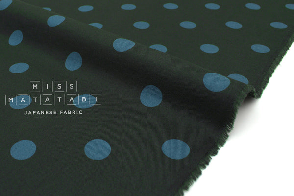 Japanese Fabric Polka Dots Brushed Twill - forest green, blue - 50cm
